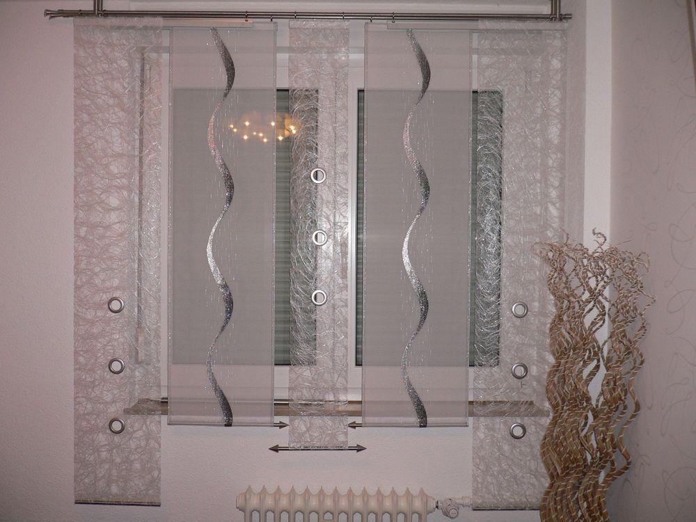 Wunderschönes Gardinen-Set In Der Farbe Weiß-silber. Die