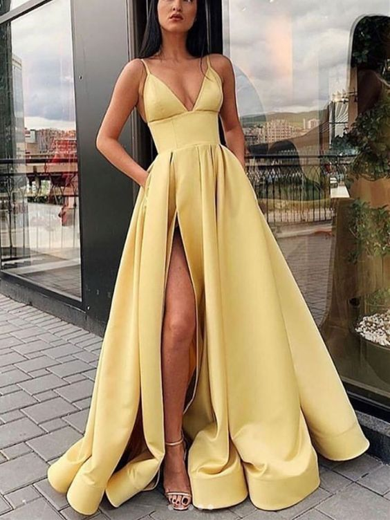 Yellow Satin Split Long Prom Dresses with Pockets, Simple Evening Dresses