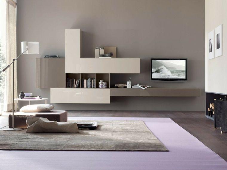 salon moderne gris idée aménagement tapis de sol mobilier design ...
