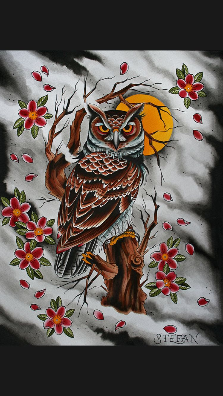 Japanese Style Owl Tattoo Design Owl Tattoo Tattoo Japanese Style