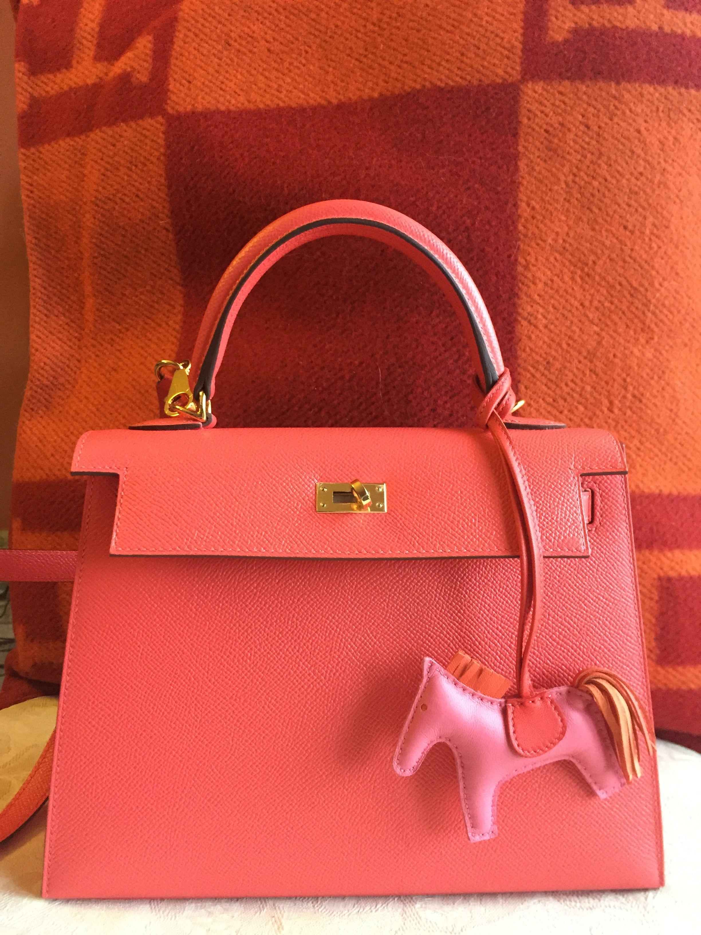 935af0bbda Hermès, Kelly, 25 cm, Jaipur Rose, Rodeo charm, cushion Avalon | My ...