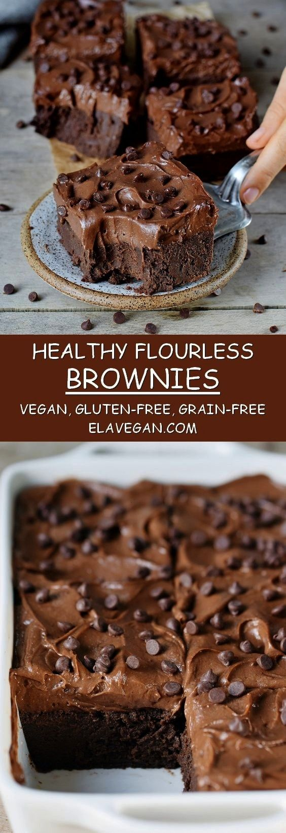 flourless brownies with a sweet potato frosting are absolutely delectable. They are vegan, gluten-f