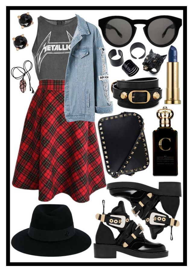 """""""Grunge Goddess"""" by juliasmiles ❤ liked on Polyvore featuring Urban Decay, Topshop, WithChic, Balenciaga, Valentino, Givenchy, Maison Michel, Clive Christian, Alexis Bittar and Irene Neuwirth"""