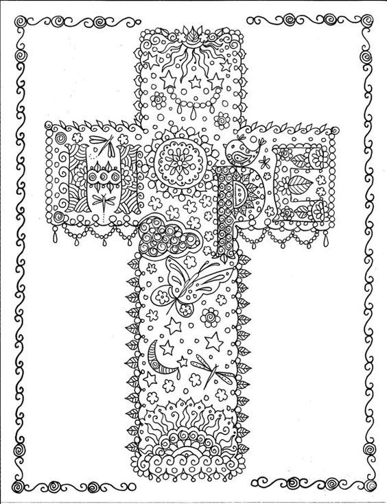 Coloring Book Crosses Christian Art to Color and by ChubbyMermaid ...