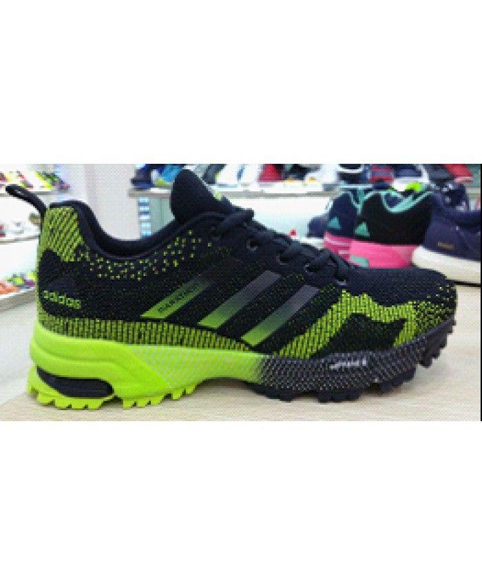 2015 uomini flyknit scarpe adidas maratona nero / fluorescente.