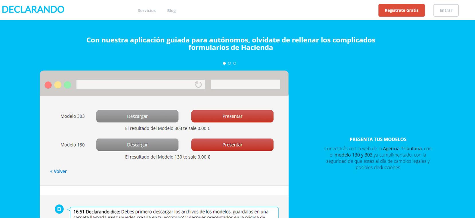 Aplicación web para trámites de autónomos con hacienda. Plan Free.