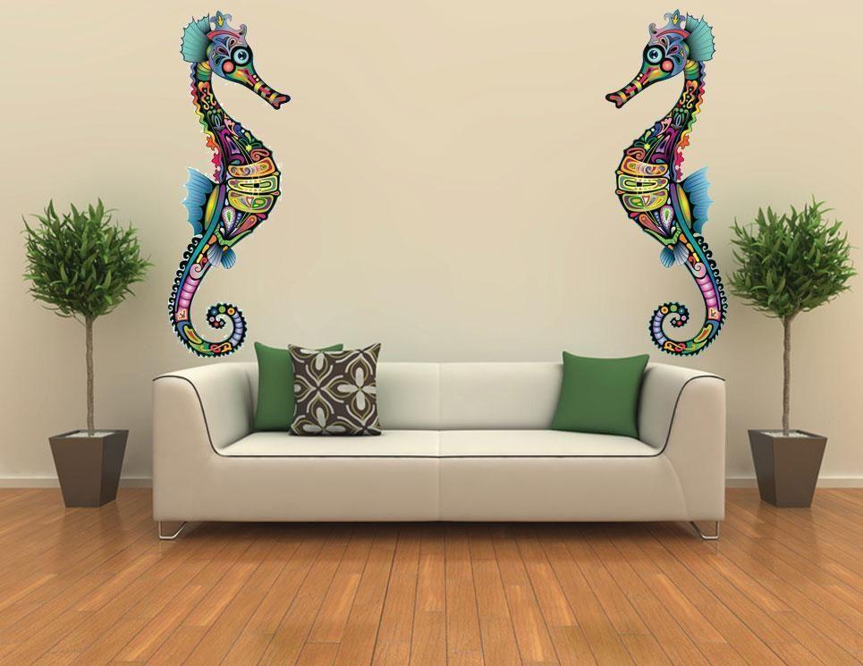 xxl sea horse ocean decor mural wall art bathroom decor vinyl sticker marine