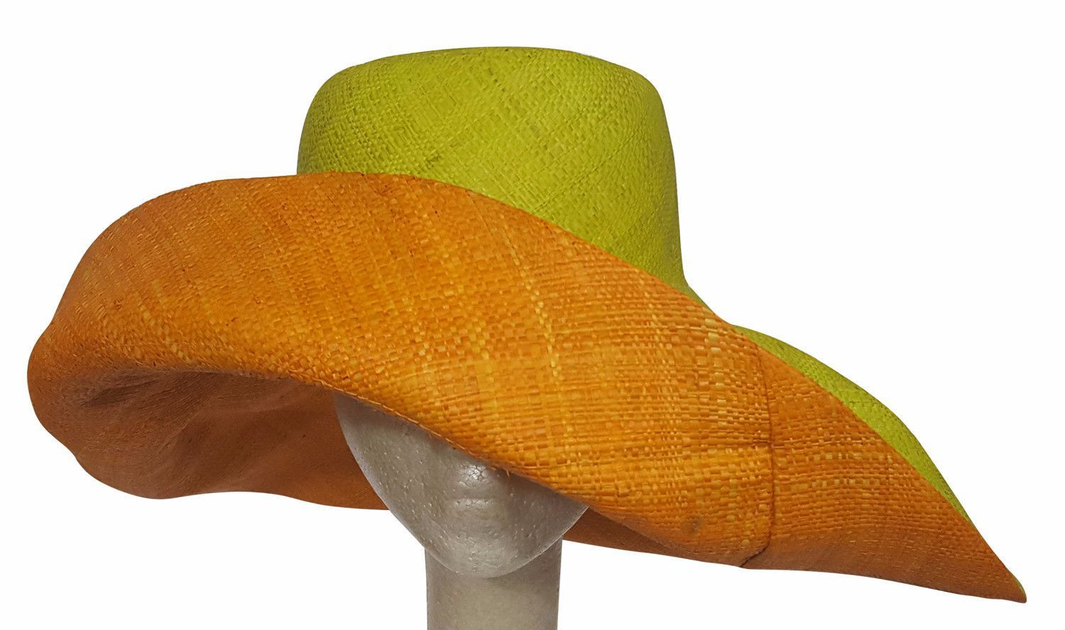 "Lime and Orange Madagascar Big Brim Raffia Sun Hat. This one is titled  ""Abam"" which means ""Second child after twins""."