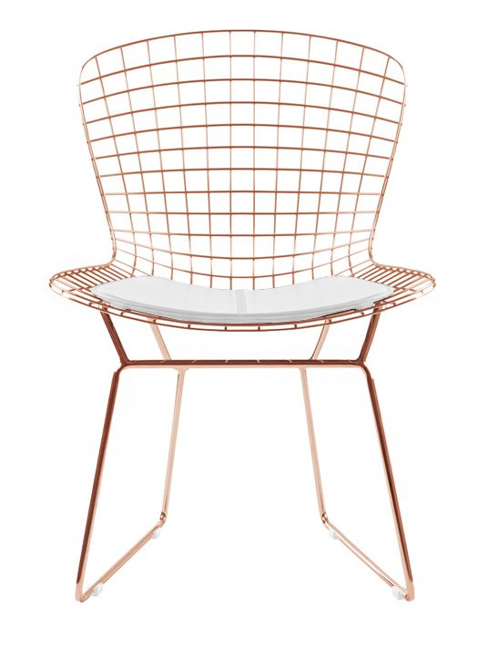 Bertoia Side Chair In Rose Gold Finish Wire Dining Chairs Wire Chair Side Chairs