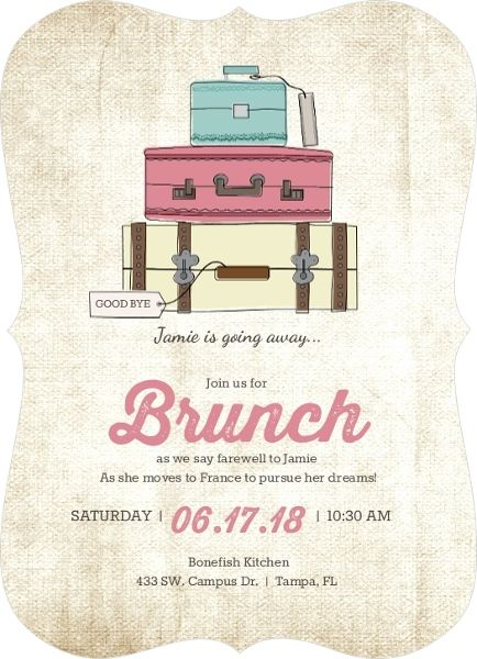 Vintage Luggage Farewell Brunch Invitation  Going Away