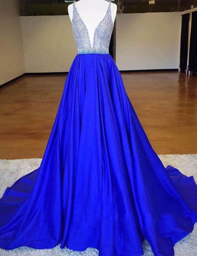 Royal blue prom dressesaline prom dressbeaded prom dresslong