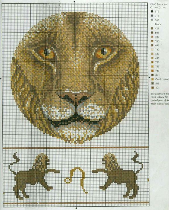 Схема вышивки знаков зодиака лев 4