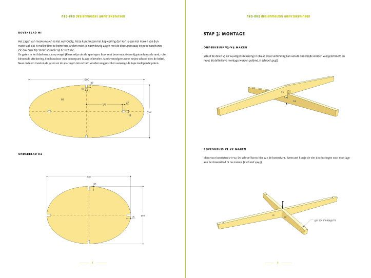 Werktekening bouwtekening Tafel, salontafel 'Leon'