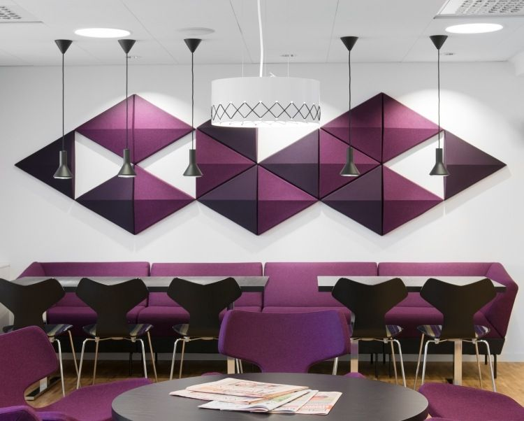 dekorative schallschutzplatten in lilatönen | acustic panels, Innenarchitektur ideen