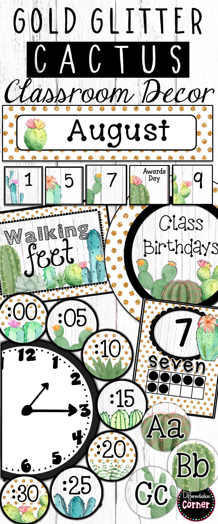 Cactus Classroom Decor Bundle #classroomdecor