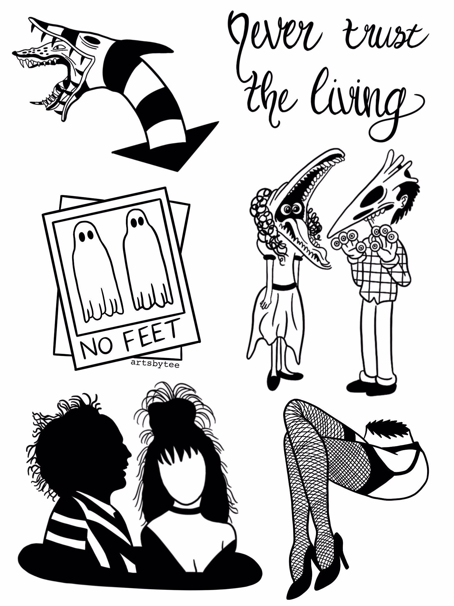 Beetlejuice Tattoo Flashsheet In 2020 With Images Beetlejuice