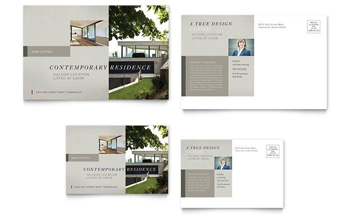 Contemporary Residence Postcard Template Design By StockLayouts - Postcard flyer template