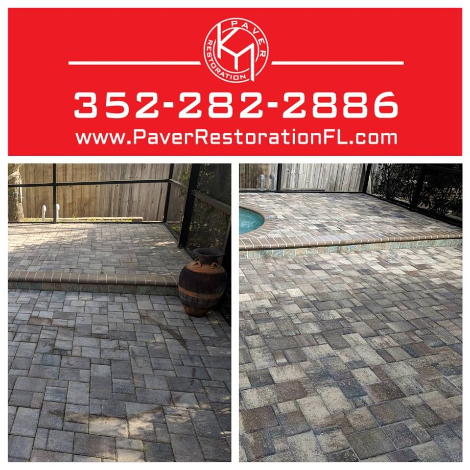 Bad Rust Stain removal, re sand and seal. Brick pavers