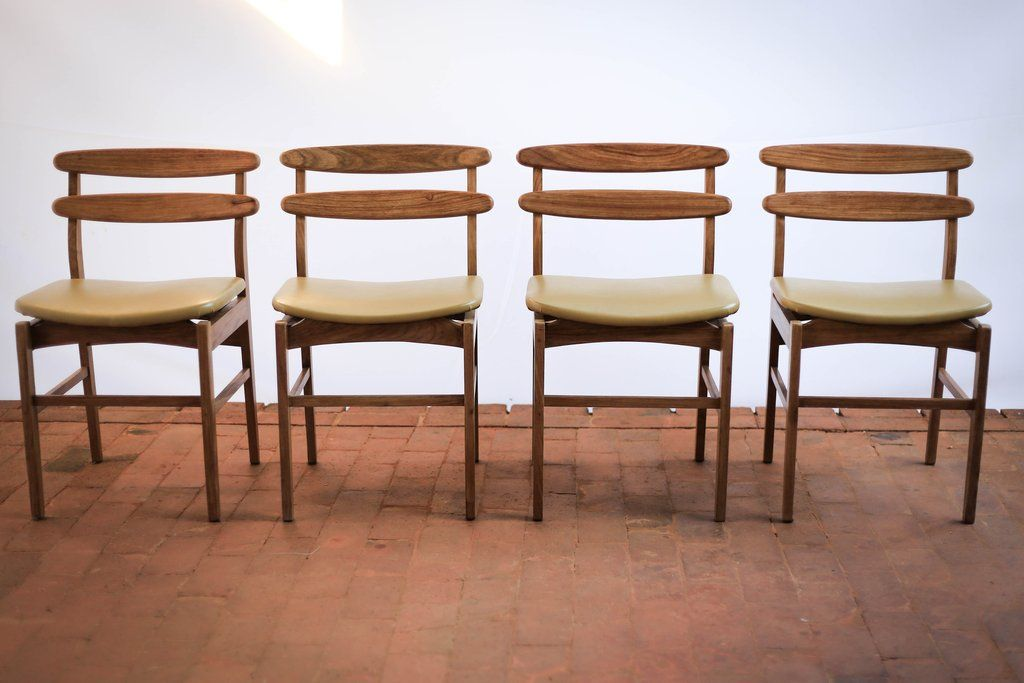 Four Mid Century Kiaat Dining Chairs In 2020 Dining Chairs