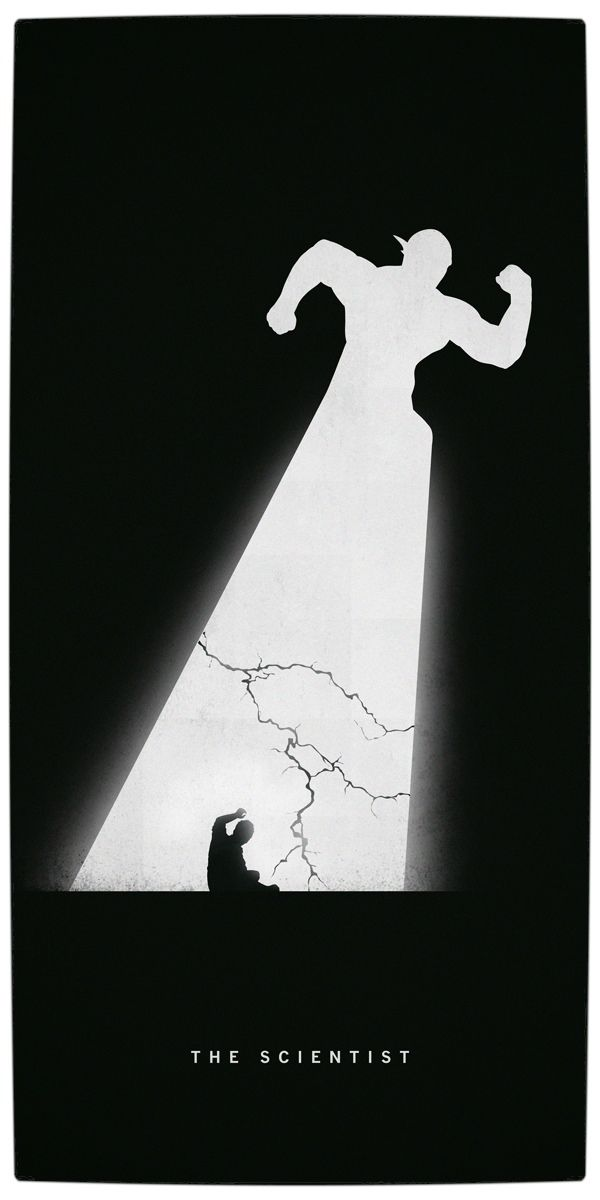 Vamers artistry superhero origins captured in iconic black and white minimalist posters flash the scientist