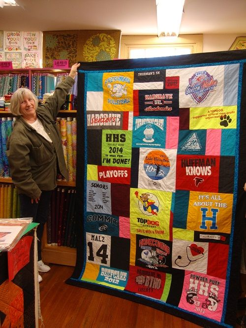 Kathy's awesome T-Shirt quilt!   Made by Ladyfingers' Customers ... : ladyfingers quilt shop - Adamdwight.com