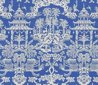 Fabric Details On Front Brunschwig Fils Chinoiserie Content Linen Nylon Colorway Blue White Back Ivory Finishing Invisible