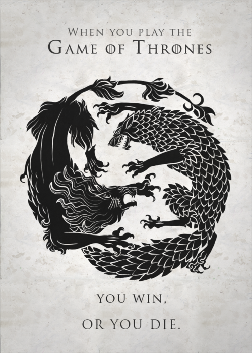 Cannot wait!!!  The Wolves versus The Lions (Game of Thrones promo poster for season 3)