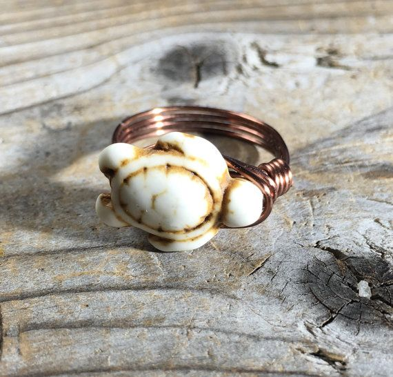 Sea Turtle white Howlite stone antique copper wire wrapped ring by ...