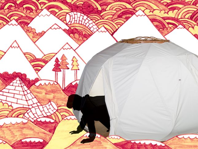 the nomad one yurt portrait red