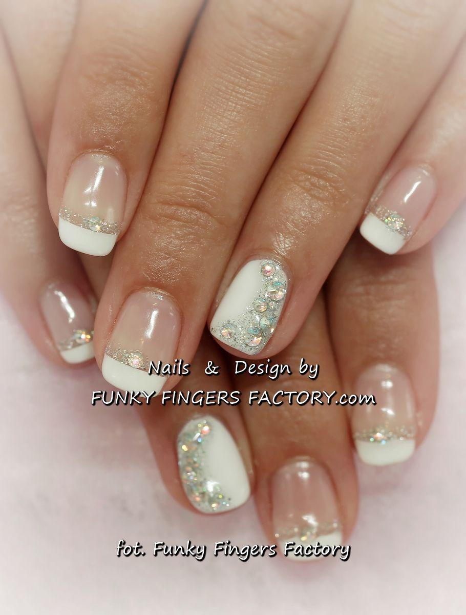 Wedding Nails 2015: Gelish French Manicure With Aurora Borealis Swarovski