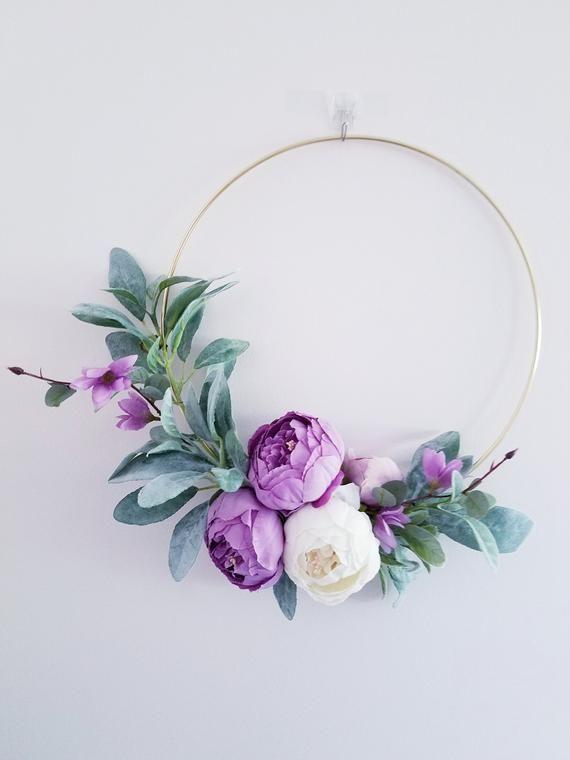Photo of Modern Wreath  for Nursery, Purple   hoop Wreath , Minimalist Wreath, Floral Wreath