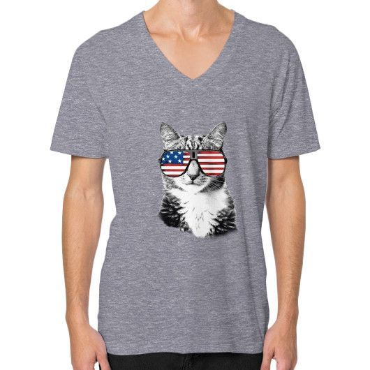Cat USA V-Neck (on man)
