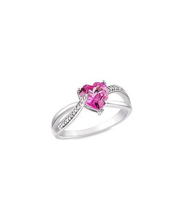 Another great find on #zulily! Pink Sapphire & Sterling Silver Twist Heart Ring #zulilyfinds