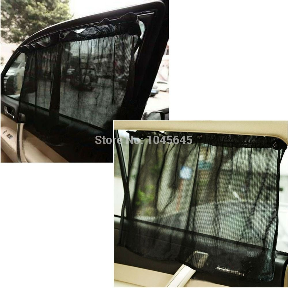 E79 1 Pair Black Car Sun Shade Curtain Suction Cup Uv Protection
