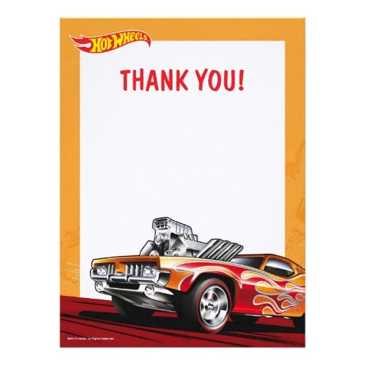 Hot Wheels Thank You Note 6.5x8.75 Paper Invitation Card