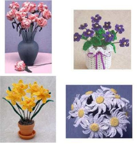 Flowers placed in a room will brighten the space and create a calming affect. Decorative crochet flowers make for a pretty centerpiece that lasts longer than the real thing. Thread Flower Patterns is a set of four floral designs to give your space a fresh look, without the maintenance found with real flowers. The pattern includes instructions for the delicate yellow daffodils, pretty purple violets, clean white daisies and variegated pink carnations. From a distance, the Thread Flower Patt