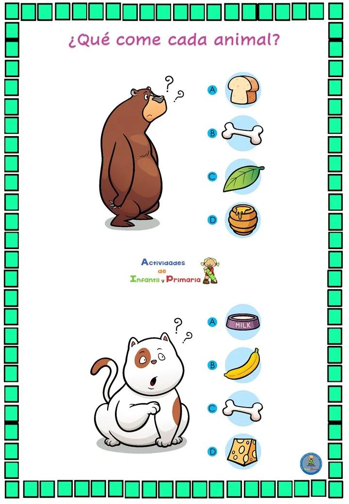 Divertido Juego De Lógica Qué Come Cada Animal Juegos De Logica Evaluaciones Para Preescolar Actividades Para Niños