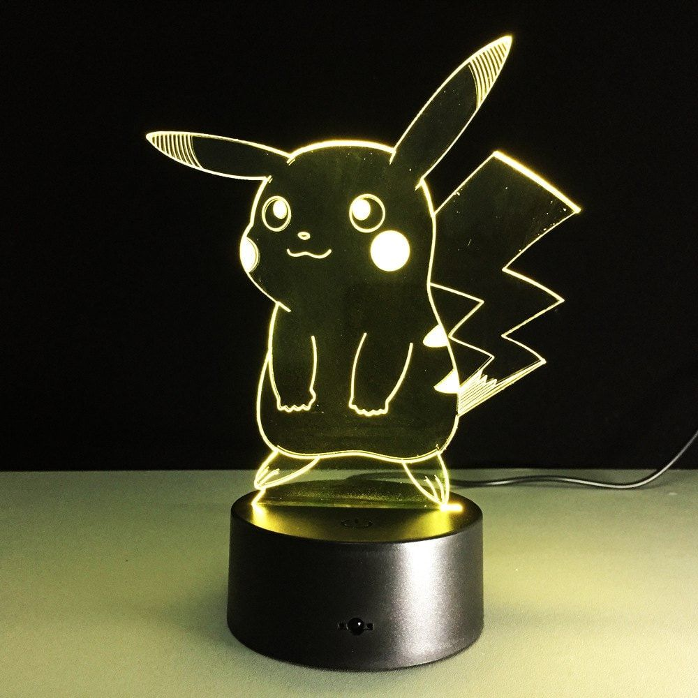 Yeduo Cartoon Table Lamp With 3d Effect Led Night Light Holiday Light Fun Light For Baby And Decoration Birthday Gift Pikachu Night Light Night Lamps 3d Led Night Light