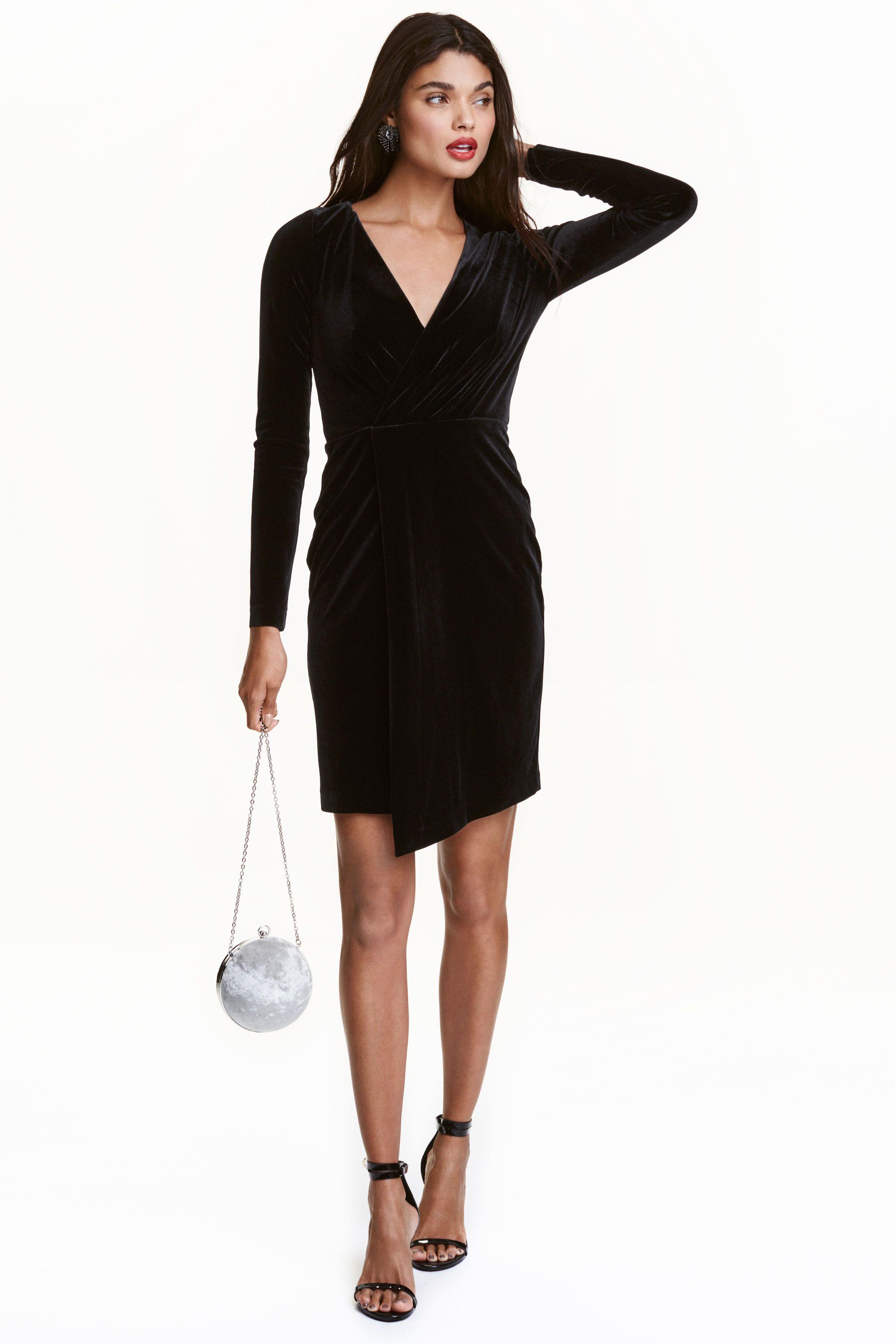 Robe croisée en velours | H&M