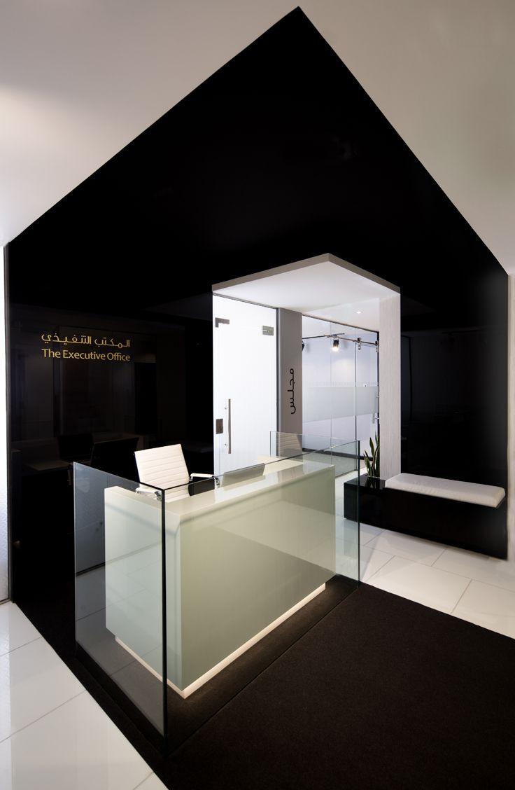 Reception Desk Black Wrap Around Contemporary Office Design Neutral Palette Black White Grey Interiors Lobby Design Counter Design Office Interior Design,Builders Design Group