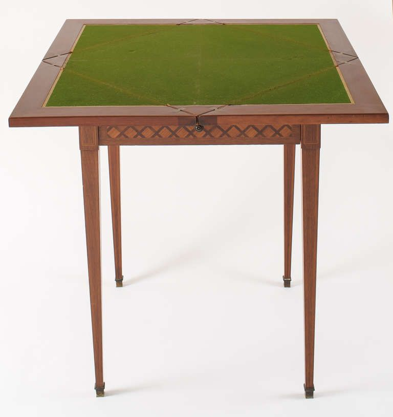 19th Century Paris Game Table with Envelop Top | From a unique collection of antique and modern card tables and tea tables at https://www.1stdibs.com/furniture/tables/card-tables-tea-tables/