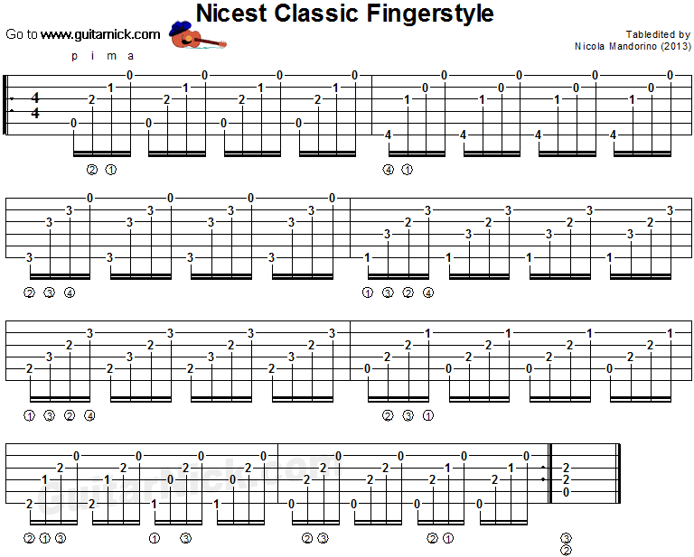 Nicest Classic Fingerstyle Classical Guitar Tab Guitar Lessons Guitar Lessons Fingerpicking Guitar Tabs