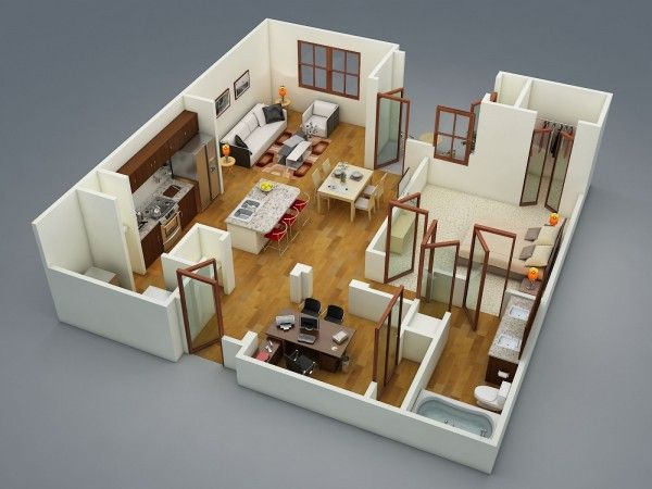 50 Plans en 3D d\u0027appartement avec 1 chambres Backyard office, Tiny - plan maison en 3d gratuit