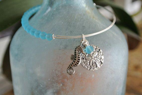 Adjustable silver bangle bracelet with bahama blue by llmermaid
