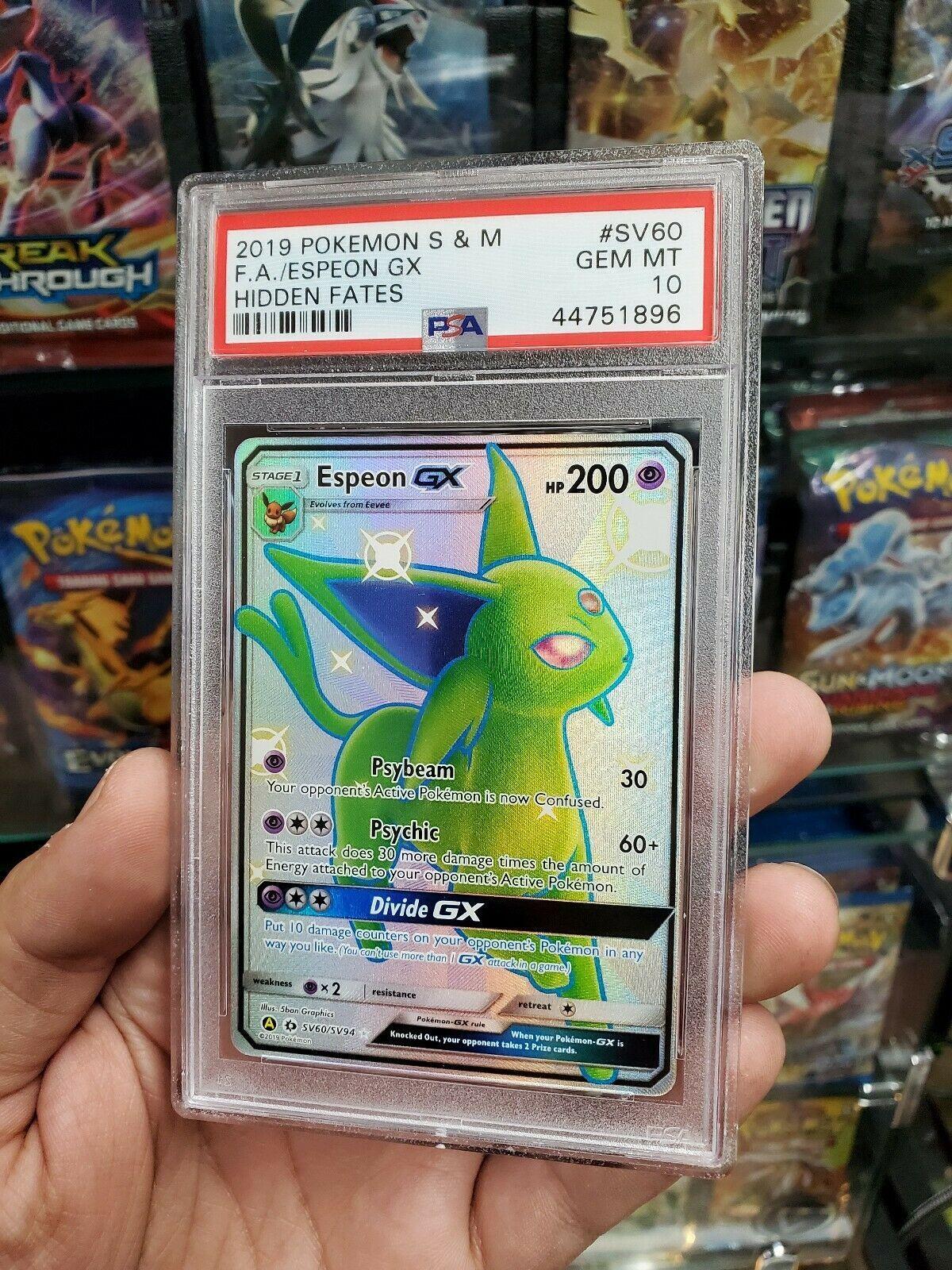 Pokemon Psa 10 Gem Mint Shiny Espeon Gx Sv60 Full Art Ultra Rare