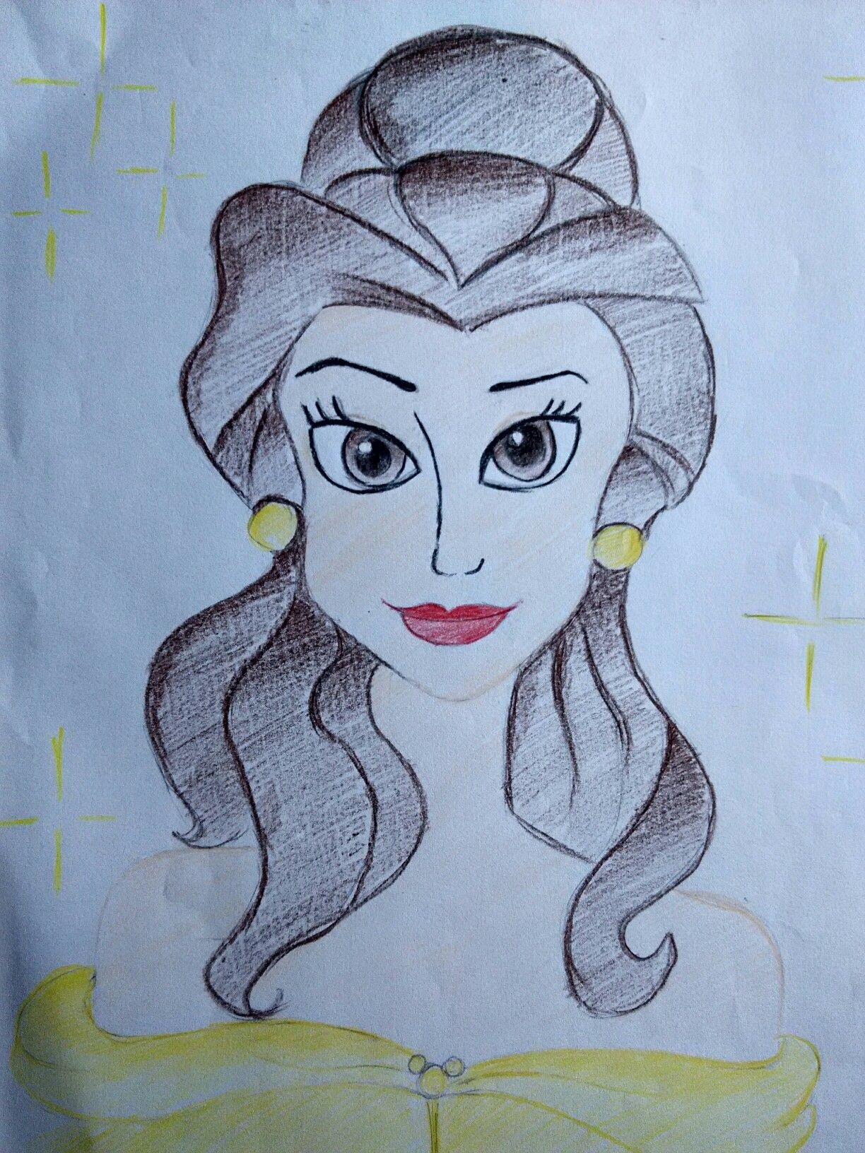 Princess Belle Drawing Colour Pencil Sketch Color Pencil Sketch Easy Drawings Belle Drawing