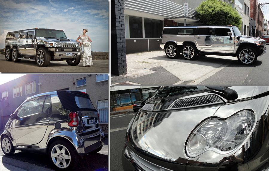3M Chrome, Vehicle Wrap, Chrome Hummer, Chrome Smart Car