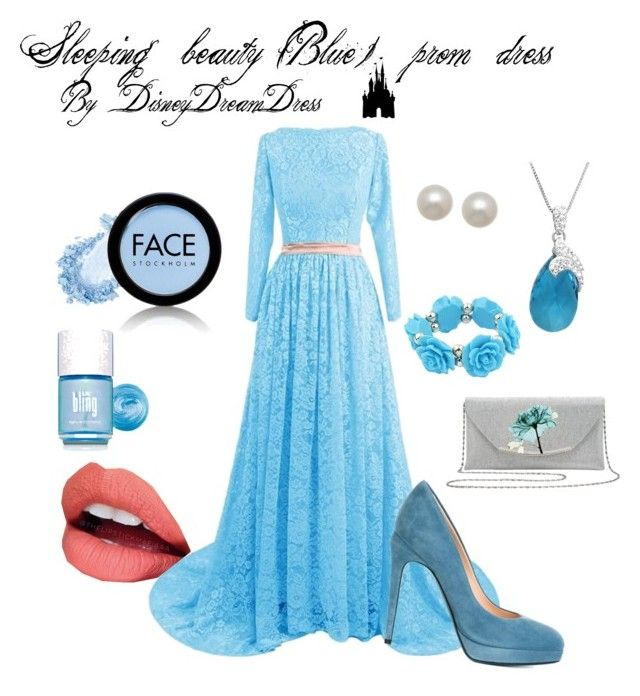 """""""Aurora (sleeping beauty) Blue prom dress"""" by disneydreamdress on Polyvore featuring mode, Fendi, Amanda Rose Collection, Honora, M&Co, Fiebiger, FACE Stockholm, myface cosmetics et Disney"""