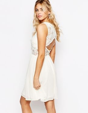 Elise Ryan 2 in 1 Lace Top Skater Dress With Scallop Back at asos.com 893d6e093edc