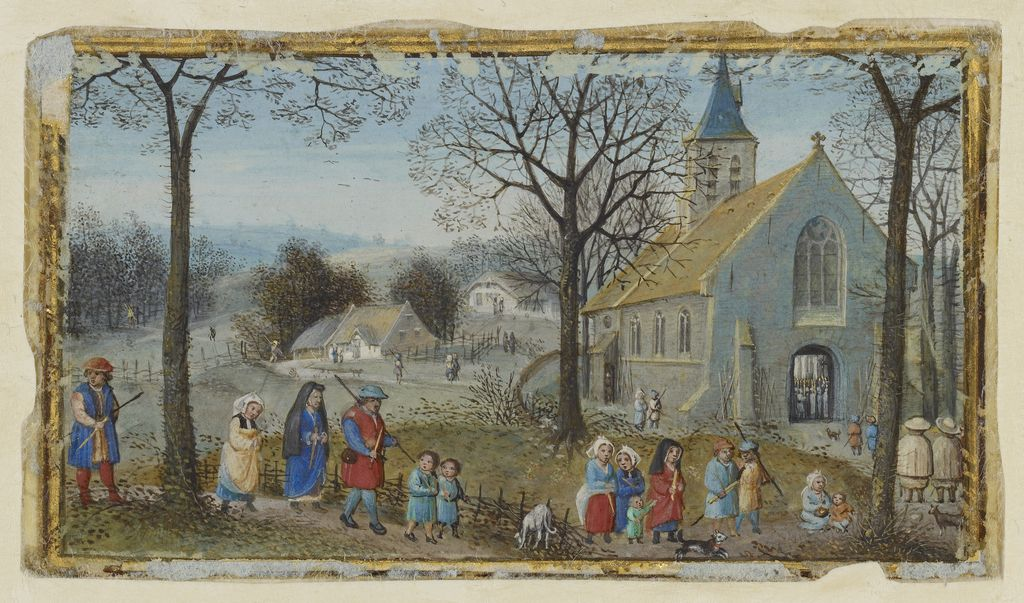 """""""Villagers on Their Way to Church,"""" Simon Bening, about 1550."""